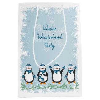 Winter wonderland party, cute penguins medium gift bag