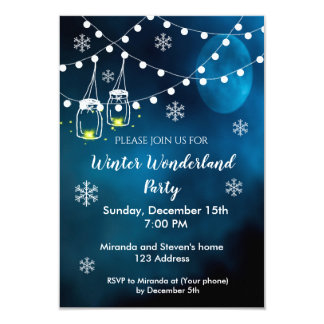 Winter wonderland party invitation night blue moon