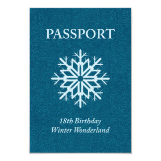 winter wonderland passport 18th birthday 9 cm x 13 cm invitation card