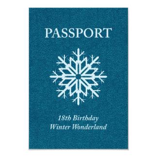 winter wonderland passport 18th birthday 9 cm x 13 cm invitation card