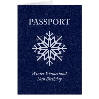 winter wonderland passport 18th birthday card