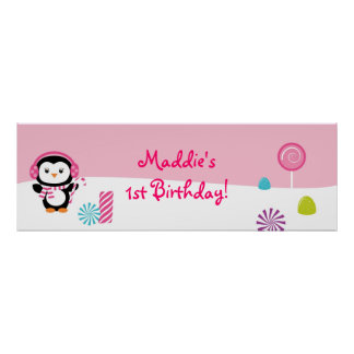 Winter Wonderland Penguin Birthday Banner Sign