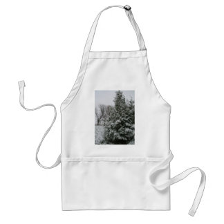 Winter Wonderland Pine Tree with Snow Fall Adult Apron