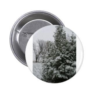 Winter Wonderland Pine Tree with Snow Fall Pinback Button