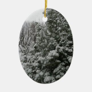 Winter Wonderland Pine Tree with Snow Fall Ceramic Oval Decoration