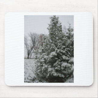 Winter Wonderland Pine Tree with Snow Fall Mouse Pad