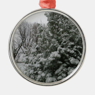 Winter Wonderland Pine Tree with Snow Fall Silver-Colored Round Decoration