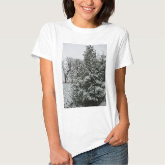 Winter Wonderland Pine Tree with Snow Fall T-shirt