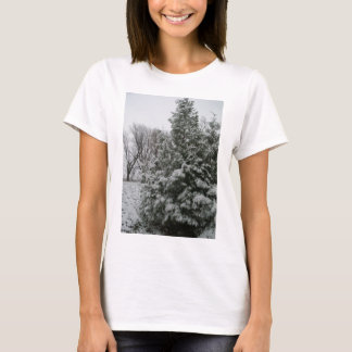 Winter Wonderland Pine Tree with Snow Fall T-Shirt