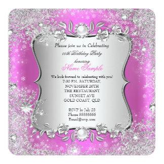 Winter Wonderland Pink Silver Snowflake Birthday 2 13 Cm X 13 Cm Square Invitation Card