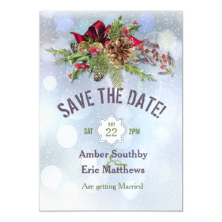 Winter Wonderland Poinsetia Magnetic Save The Date Magnetic Invitations
