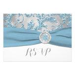Winter Wonderland, PRINTED BUCKLE Wedding RSVP 4 Personalized Invitations