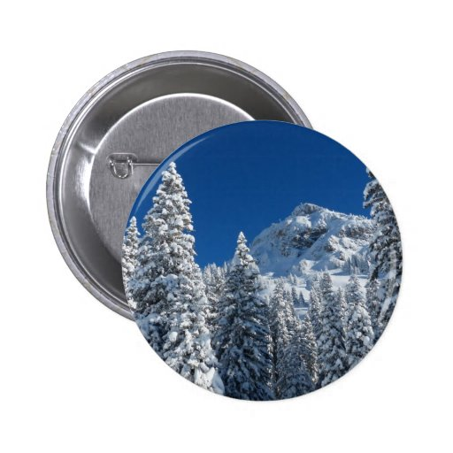 Winter Wonderland Snow Covered Trees Mountains Buttons