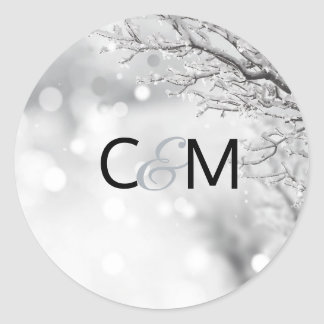 Winter Wonderland Snow Wedding Initials SEAL