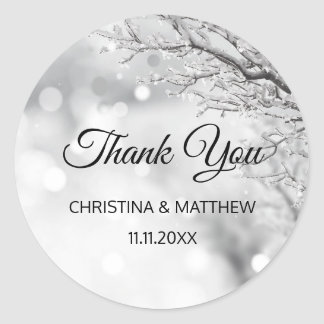 Winter Wonderland Snow Wedding THANK YOU Classic Round Sticker