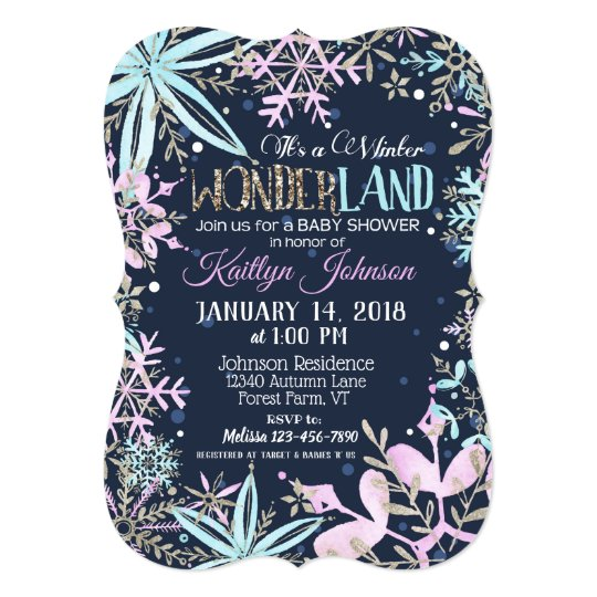 Winter Wonderland Snowflake Baby Shower Card