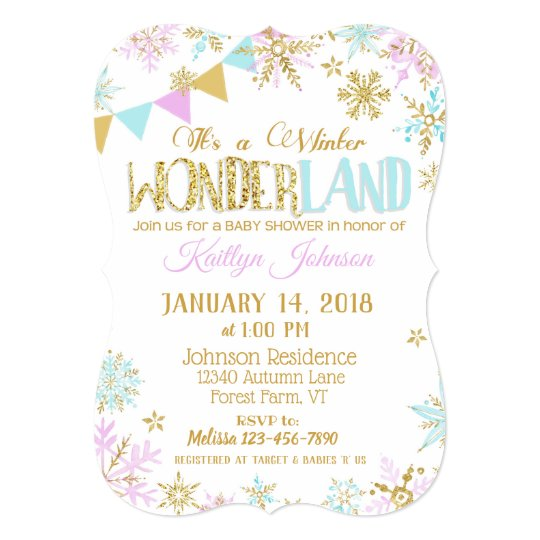 Winter Wonderland Snowflake Baby Shower Card