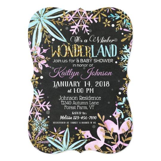 Winter Wonderland Snowflake Chalkboard Baby Shower Card