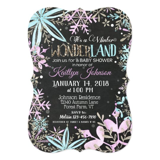 Winter Wonderland Snowflake Chalkboard Baby Shower Card