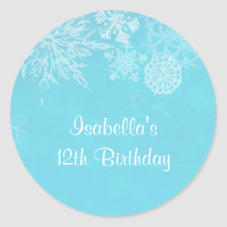 Winter Wonderland Snowflake Frost Birthday Party Classic Round Sticker