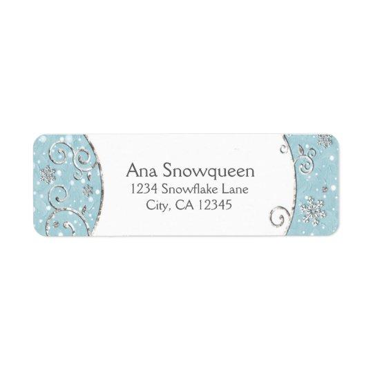 Winter Wonderland Snowflake Swirl Address Label