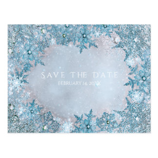 Winter Wonderland Snowflakes Blue Save the Date Postcard