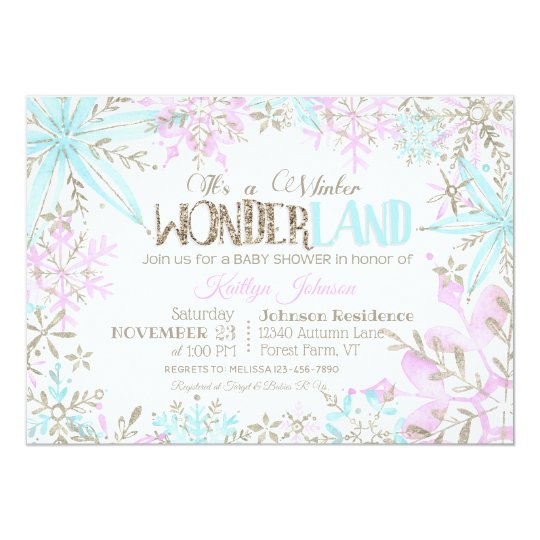 Winter Wonderland Snowflakes Sparkle Baby Shower Card