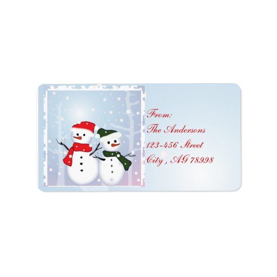 Winter Wonderland Snowman Our First Christmas Label