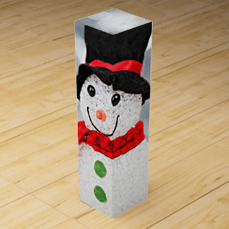 Winter Wonderland Snowman Wine Box