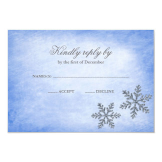Winter Wonderland Sparkle Snowflakes Blue RSVP Card