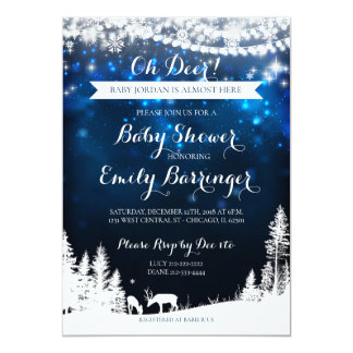 Winter Wonderland Starry Night Deer Baby Shower Card