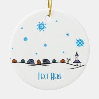 Winter Wonderland Town with Church Round Ceramic Decoration