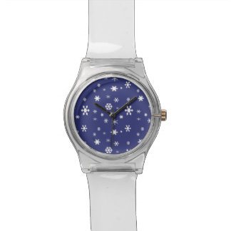 Winter Wonderland-White Snowflakes on Blue Watches