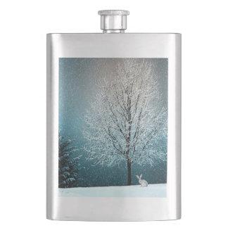 Winter Wonderland with Rabbit Hip Flask