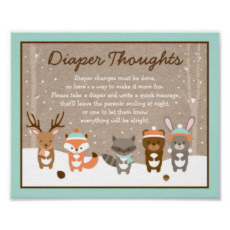 Winter Woodland Animal Diaper Thoughts Game Poster