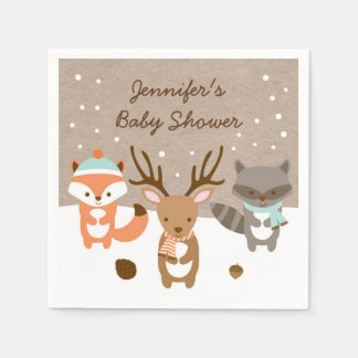 Winter Woodland Animal Personalized Napkins Paper Napkins