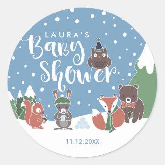 Winter Woodland Animals Baby Shower Classic Round Sticker