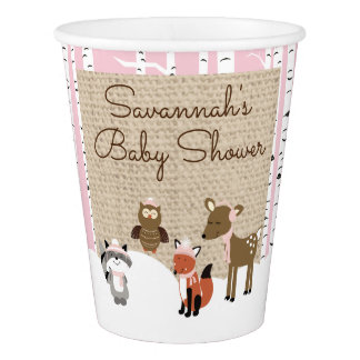 Winter Woodland Animals Paper Cup | Pink