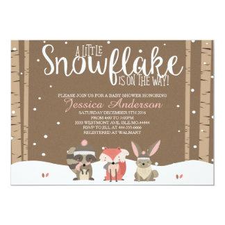 Winter woodland baby shower invitation