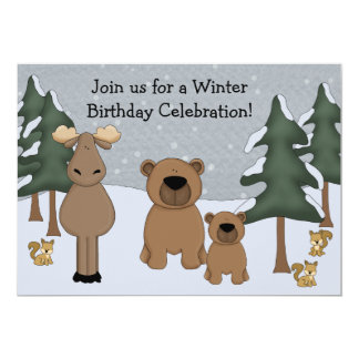 Winter Woodland Birthday Invitation