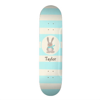 Winter Woodland Bunny Rabbit; Bright Blue 18.1 Cm Old School Skateboard Deck