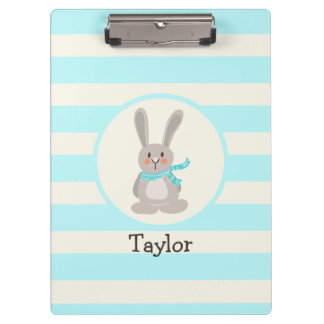 Winter Woodland Bunny Rabbit; Bright Blue Clipboards