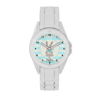 Winter Woodland Bunny Rabbit; Bright Blue Wristwatches