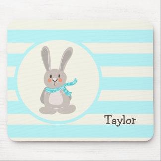 Winter Woodland Bunny Rabbit; Bright Blue Mouse Pad