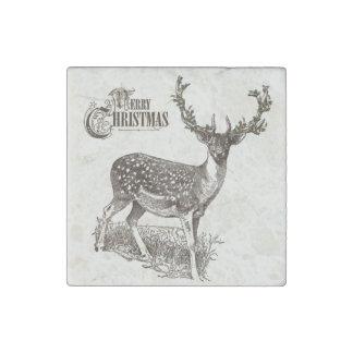 winter woodland christmas deer stone magnet