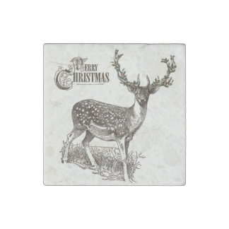 winter woodland christmas deer stone magnet