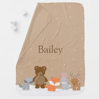 Winter Woodland Forest Animals Receiving Blanket