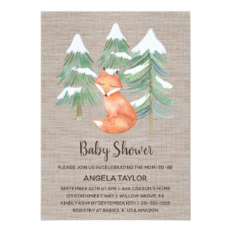 Winter Woodland Fox Baby Shower Card