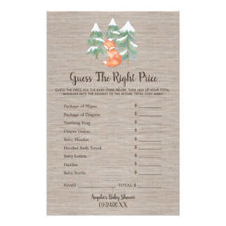 Winter Woodland Fox Guess the Right Price Game Flyer