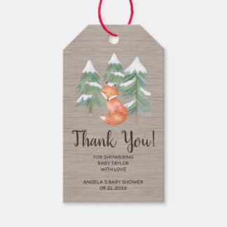 Winter Woodland Fox Thank You Gift Tags